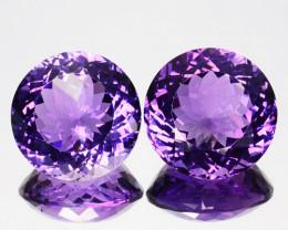 17.32Cts Natural Purple Amethyst Round PAIR Brazil Gem