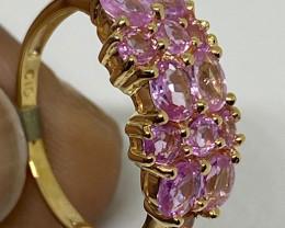 (A ) Superb $1250 Cert Nat 1.70cts Genuine  Pink Sapphires Ring