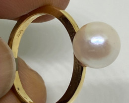 (C) Delightful $1200 Cert Nat White Cultured Pearl Gold Ring