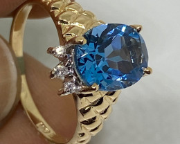 (D) Authentic $1450 Nat Cert 1.89cts  Blue Topaz & Diamond Ring