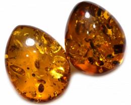 30 Cts Pair  Honey  Yellow Amber Gemstones    AM 1689