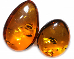 43 Cts Pair Honey  Yellow Amber Gemstones    AM 1690