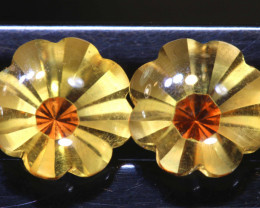 3.60 CTS -CITRINE FLOWER CARVING PAIR   LG-6