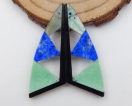 27.5cts labradorite,green turquoise,lapis,obsidian intarisa earrings F731