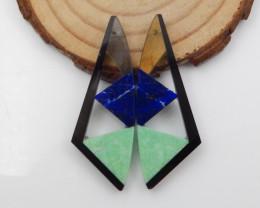 27.5cts labradorite,green turquoise,lapis,obsidian intarisa earrings F717