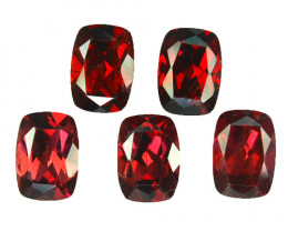 5.44 Cts Natural Pinkish Red Rhodolite Garnet 7x5mm Cushion 5Pcs Mozambique