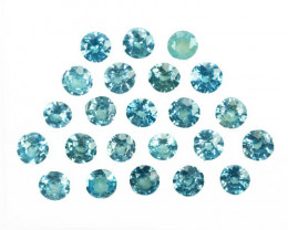 ~SPARKLING~ 5.18 Cts Natural Blue Zircon 3.5-3.0mm Round 23Pcs Cambodia