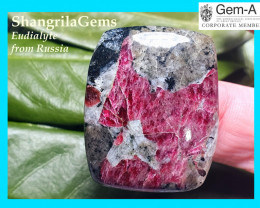 33mm Eudialyte cabochon AAA quality 51ct 33 by 27 by 5.5mm