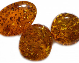 38 Cts Parcel 3  Honey  Yellow Amber Gemstones    AM 1715