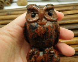 Mahogany Obsidian Carved Owl Figurine (D082)
