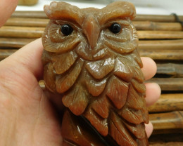 Fancy agate carved owl ornament (D061)