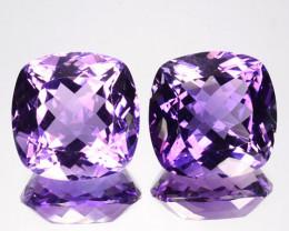 23.40 Cts Natural Purple Amethyst Cushion PAIR Brazil Gem