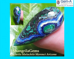 26.5mm 12.5ct Azurite Malachite Chrysocolla cabochon Morenci mine