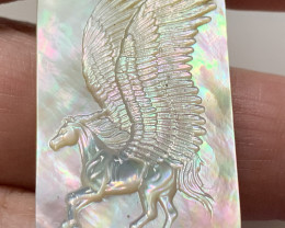 Mother of Pearl Pegasus Carved Cameo Shell with Rainbows Cabochon