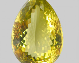 119.27Ct. Natural Top Lemon Quartz Brazil Pear Shape Facet Dazzling Unheate