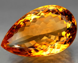 39.2 Ct. Natural Top Golden Yellow Citrine Brazil Pear Shape Facet Unheated