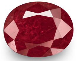 IGI Certified Burma Ruby, 1.54 Carats, Deep Red Oval