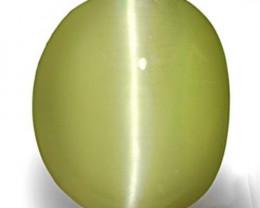 India Chrysoberyl Cat's Eye, 8.91 Carats, Soft Yellowish Green Oval