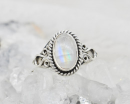 RAINBOW MOONSTONE RING 925 STERLING SILVER NATURAL GEMSTONE JR494