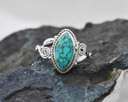 TURQUOISE RING 925 STERLING SILVER NATURAL GEMSTONE JR473