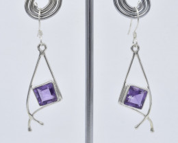 AMETHYST EARRINGS 925 STERLING SILVER NATURAL GEMSTONE JE414