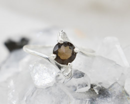 SMOKY QUARTZ RING 925 STERLING SILVER NATURAL GEMSTONE JR472