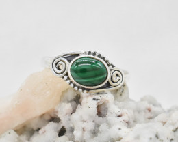 MALACHITE RING 925 STERLING SILVER NATURAL GEMSTONE JR504