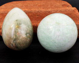 Genuine 1119.00 Cts Agate Egg & Amazonite Healing Ball Set