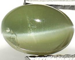 AIGS Certified Madagascar Chrysoberyl Cat's Eye, 1.20 Carats, Medium Green