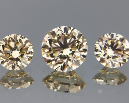 0.63 cts ,VS  Natural Diamonds , Round Brilliant Cut Diamonds , 3 pcs