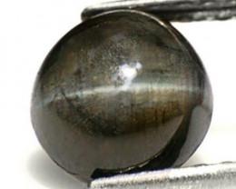Sri Lanka Chrysoberyl Cat's Eye, 3.51 Carats, Jet Black Round