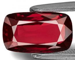 Burma Spinel, 2.27 Carats, Deep Maroonish Red Cushion