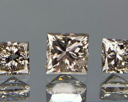 0.57 cts Pair Of 3 , Loose Natural Diamond , Princess Cut Diamonds