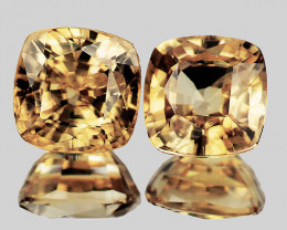 6.00 mm Cushion 2 pcs 3.61cts Golden Yellow Zircon [VVS]