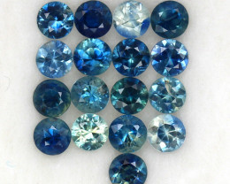 4.11 ct. 3.7 MM.NATURAL GEMSTONE MULTI COLOR SAPPHIRE DIAMOND CUT 17PCS.