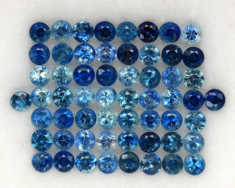 4.0 ct. 2.4 MM. NATURAL GEMSTONE BLUE SAPPHIRE DIAMOND CUT 58PCS.