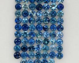 4.04 ct. 2.3 MM. NATURAL GEMSTONE BLUE SAPPHIRE DIAMOND CUT 68PCS.