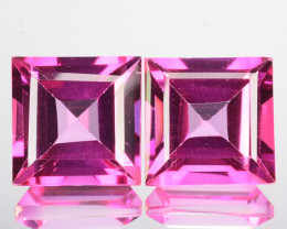~CANDID~ 8.88 Cts Pink Natural Topaz 9mm Square Cut 2 Pcs Brazil