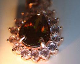 Sphene 1.40ct Rose Gold Finish Solid 925 Sterling Silver Pendant, Natural a