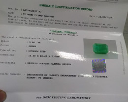 Certified 9.86cts  Colombian Emerald , 100% Natural Gemstone