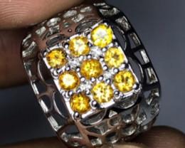 Natural 9pcs Yellow Sapphire Tanzania  Silver Ring
