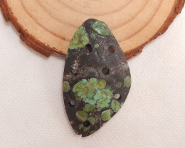 29.5cts Carved turquoise pendant , natural turquoise, flower pendant , bead