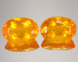 ~PAIR~ 20.92 Cts Natural Mexican Orange Fire Opal 18x13mm Oval 2Pcs