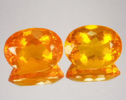 ~PAIR~ 16.32 Cts Natural Mexican Orange Fire Opal 16x12.5mm Oval 2Pcs