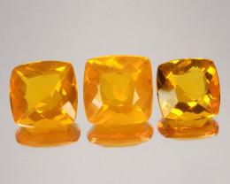 ~SET~ 8.04 Cts Natural Mexican Orange Fire Opal Cushion Cut 3Pcs