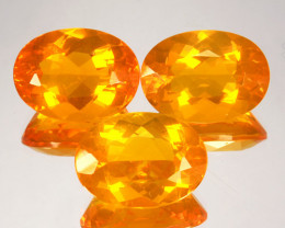 ~SET~ 14.24 Cts Natural Mexican Orange Fire Opal 14x10mm Oval 3Pcs