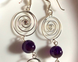 Spiral of Life Amethyst Sterling Silver Earrings No Reserve
