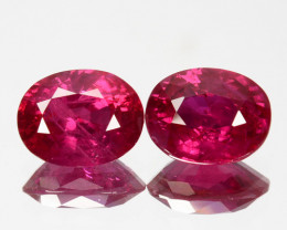 ~PAIR~ 2.07 Cts Natural Burmese Ruby Pinkish Red 2Pcs Oval Cut ~Beautiful~