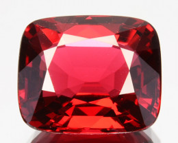 Certified!GRS~RAREST~ 3.05 Cts Natural Burmese Spinel Vivid Red Cushion Cut
