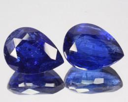 ~UNHEATED~ 7.24 Cts Natural Deep Blue Sapphire 2Pcs Pear Cut Sri Lanka